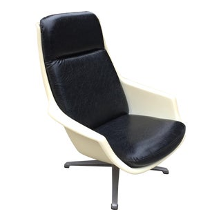 Black and White Post Modern Plastic Swivel Lounge Chair For Sale