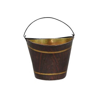 Antique English Faux Wood Bucket W/ Brass Liner For Sale