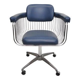 Mid-Century Warren Platner Style Chrome & Blue Vinyl Rolling Office Desk Chair For Sale
