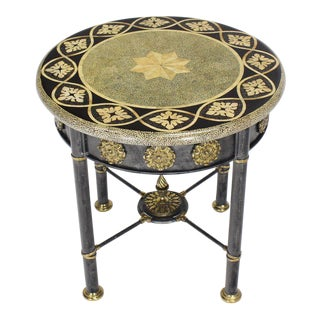 Round Faux Egg Shell Decorated Bronze Ormolu Decorated Round Gueridon Table For Sale