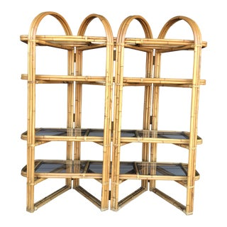 Vintage Rattan Folding Etagere For Sale