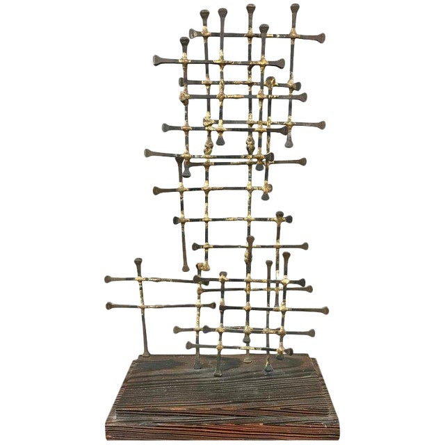 Midcentury Large Brutalist Abstract Nail Art Sculpture For Sale
