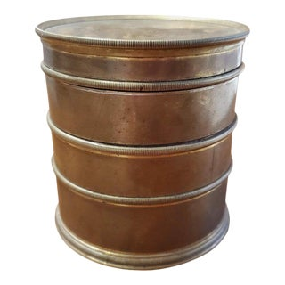 Mid 19th Century Cylindrical Shaped Brass Tobacco Box For Sale