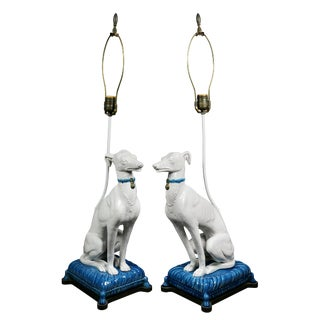 Pair of Pottery Figures of Seated Whippets Mounted as Lamps For Sale