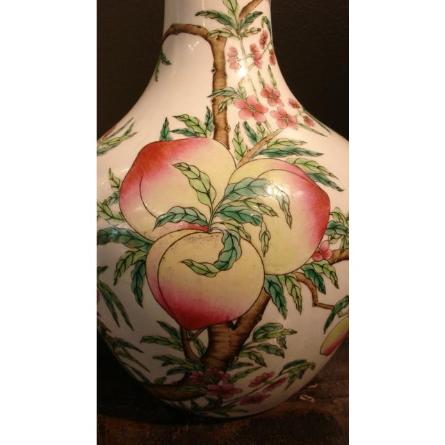"A Pair of Famille Rose ""Peaches"" Bottle Vases (Tianquiping) For Sale In Austin - Image 6 of 7"