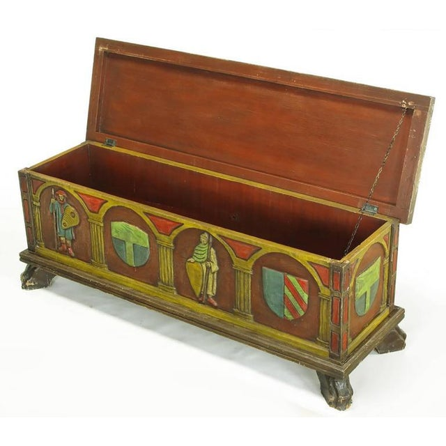 Gothic Artes De Mexico Spanish Revival Polychrome Wood Blanket Chest For Sale - Image 3 of 8