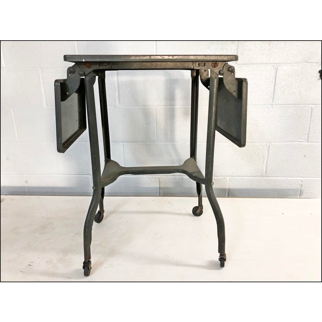 Vintage Industrial Green Typewriter Table with Double Drop Leaf - Image 13 of 13
