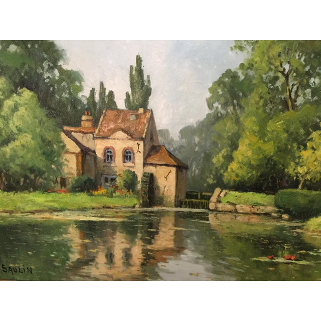 "Serene Oil Painting ""Moulin Des Beechet A Olive, or House near a pond, French artist Saulin, Circa 1960. Frame and canvase..."