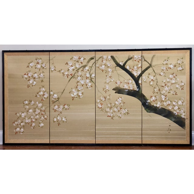 Vintage Four Panel Hand Painted Byobu Folding Screen of Cherry Blossoms For Sale - Image 11 of 12