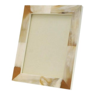 "Cream Lacquer and Horn Picture Frame, 8"" X 10"" For Sale"