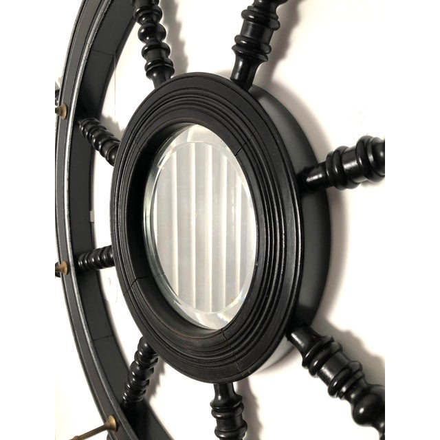 Black 19th Century Ebonized and Turned Wood Ship's Wheel Mirror and Hat and Coat Rack For Sale - Image 8 of 11