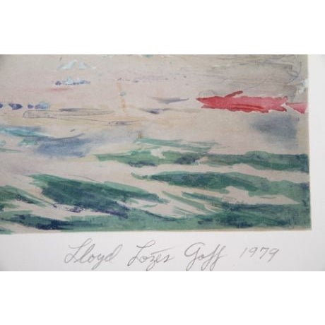 Artist: Lloyd Lozes Goff, American (1918 - 1982) Title: New York Harbor Year: 1979 Medium: Lithograph, Signed and Numbered...