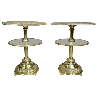 Pair of Victorian Silver Plated and Glass End Tables For Sale