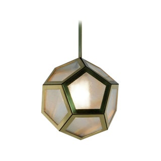 Contemporary Large Pentagone Brass and Glass Lantern For Sale