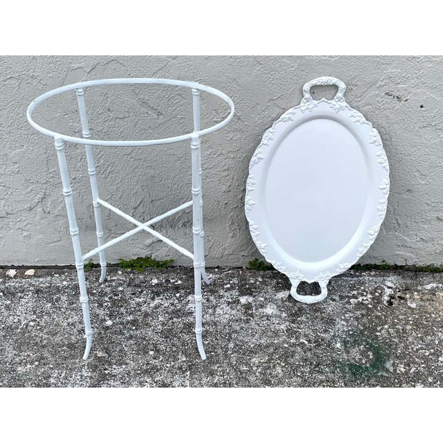 White Faux Bamboo and Grape Motif White Enameled Tray Table, Provenance Celine Dion - a Pair For Sale - Image 8 of 10