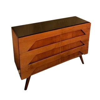 Italian Mid-Century Modern Fruit Wood & Glass Top Dresser For Sale