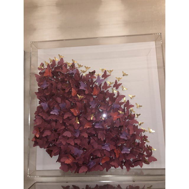 Mauve Acrylic Four Panel Butterfly Art by Jen Lin For Sale - Image 8 of 12