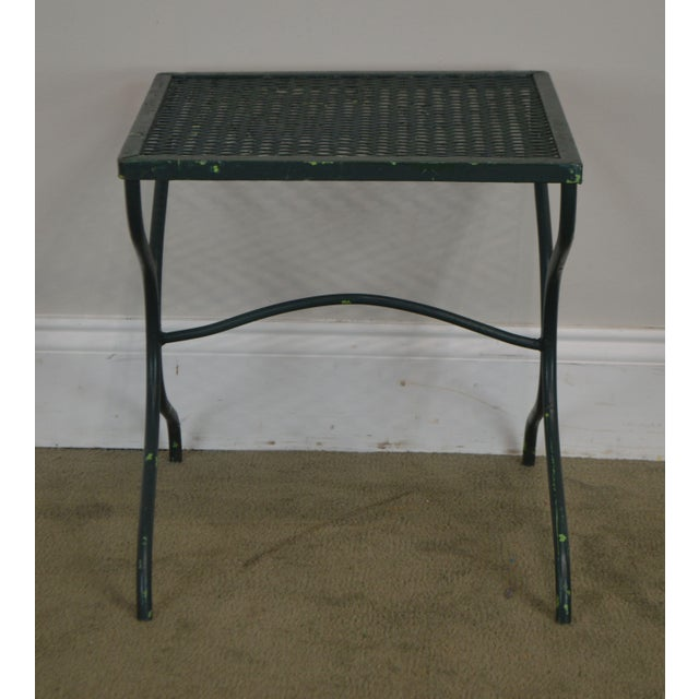 1960s Salterini Vintage Expanded Metal Wrought Iron Pair X-Base Patio Side Tables For Sale - Image 5 of 13
