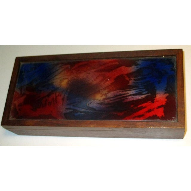 Enamel 1960s Mid-Century Modern Rosewood Box With Abstract Enamel Top For Sale - Image 7 of 7