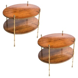 Faux Bamboo Bronze & Wood Side Tables From Smith & Watson, 1960s, A-Pair For Sale