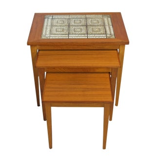 Danish Teak & Tile Nesting Tables - Set of 3