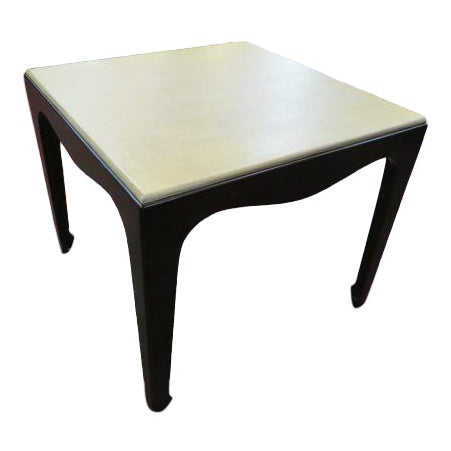 1960s Mid Century Modern Side Table With Lacquered Grass Cloth Top For Sale
