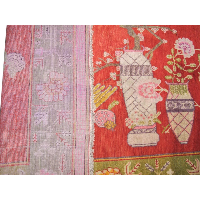 Traditional Colorful Khotan Woven Rug For Sale - Image 3 of 3