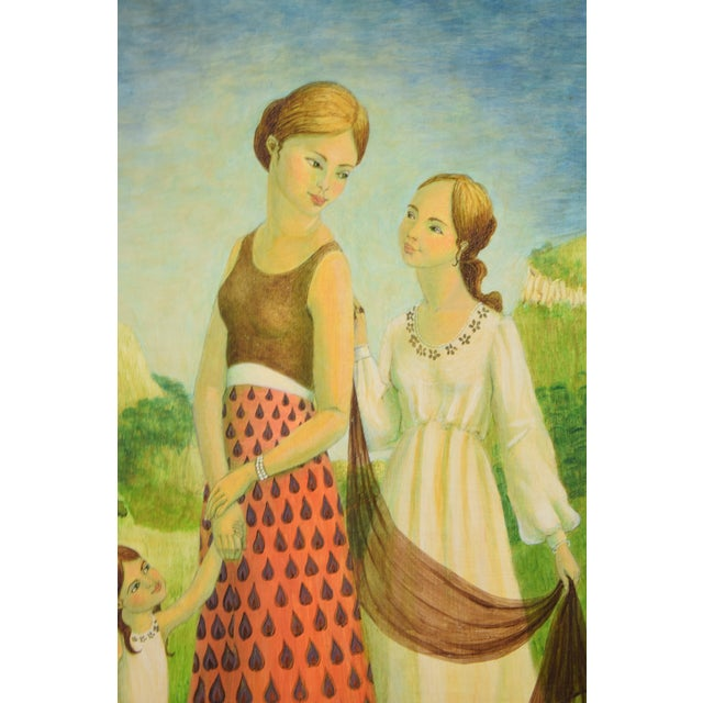 Vintage Mother and Two Daughters on Garden Path Oil Painting For Sale In Chicago - Image 6 of 9