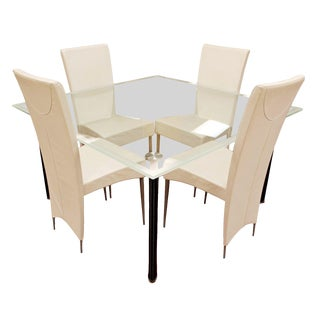 Contemporary Modern Italian Cattelan Glass Dining Table & Leather Chairs For Sale