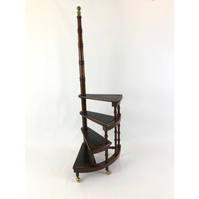 1980s Vintage English Style Decorative Mahogany & Embossed Leather Library Stairs For Sale - Image 12 of 12