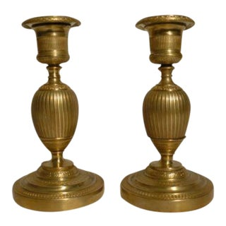 C. 1810 French First Empire Dore Bronze Candle Holders - a Pair For Sale
