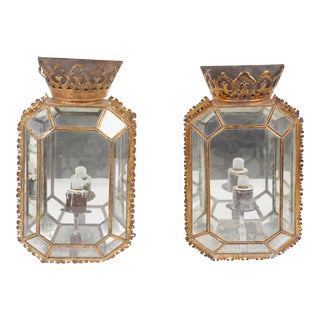 Pair of 19th C. Regency Glass and Tole Sconces For Sale