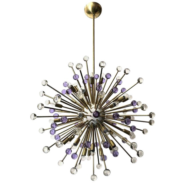 Clear and Purple Burst Sputniks by Fabio Ltd ( 2 Available) For Sale