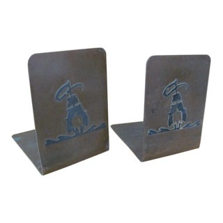 Silvercrest Arts & Crafts Sterling and Bronze Bookends - a Pair For Sale