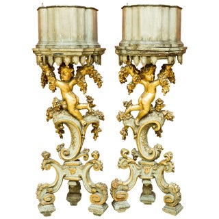 Pair of Italian Baroque Style Planter Pedestals, 19th Century For Sale