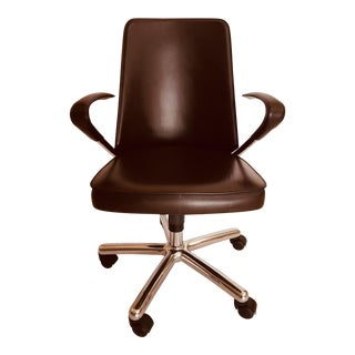 Martino Perego for Fasem Luna Brown Leather Office Chair For Sale