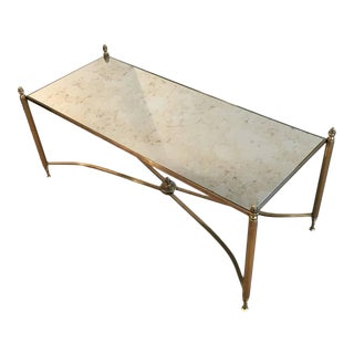 French Brass and Antiqued Mirror Coffee Table, 1940s