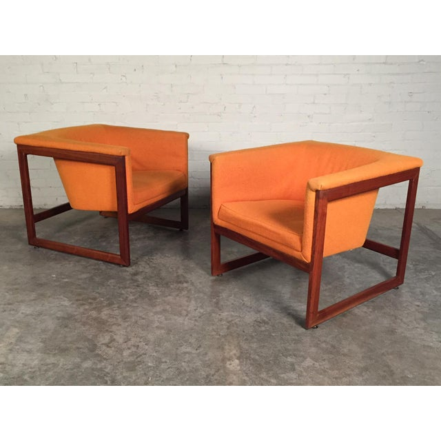 Milo Baughman Mid-Century Modern Floating Cube Chairs - A Pair For Sale - Image 10 of 10