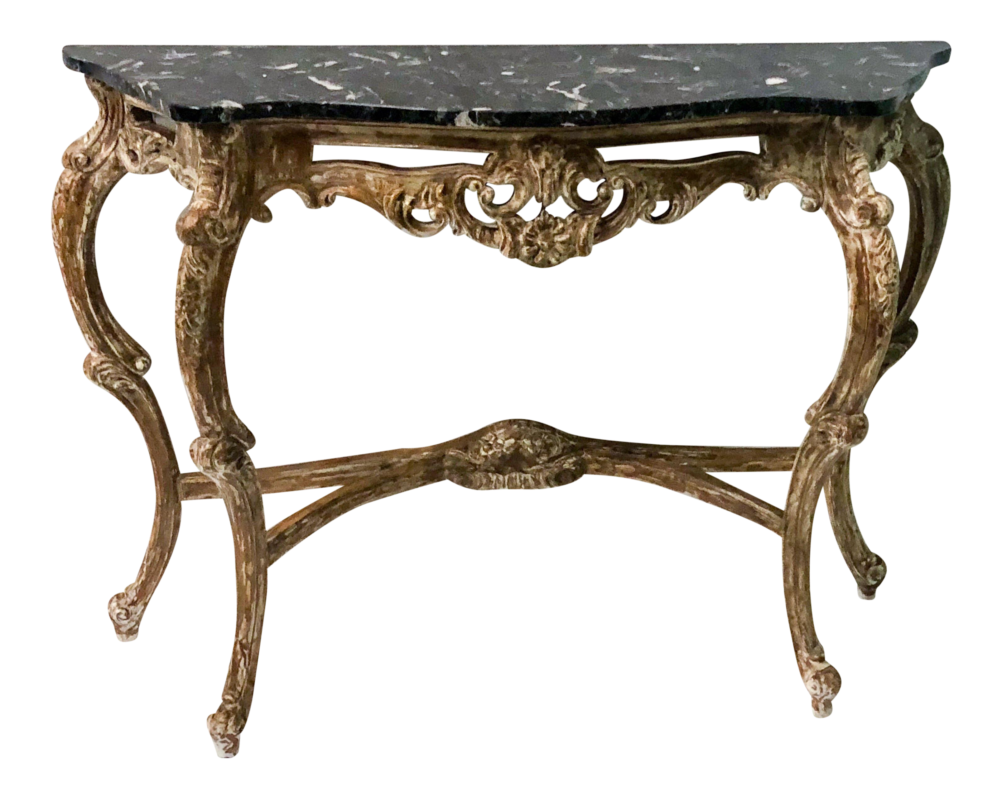 Carved French Marble Top Console Table