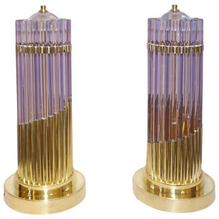Vintage 1980s Italian Brass & Alexandrite Purple Blue Murano Glass Lamps - a Pair For Sale