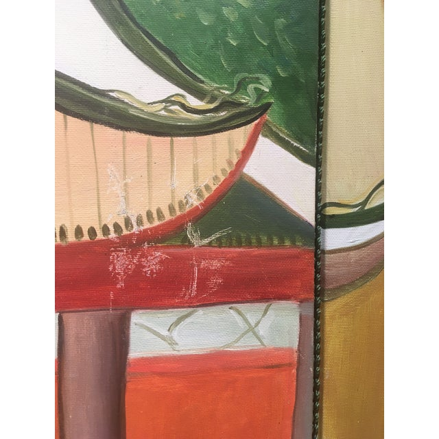 1970s Chinoiserie Mural Painting on Panels For Sale - Image 5 of 13
