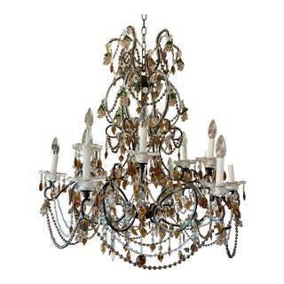 Beaded Crystal and Amber Chandelier For Sale