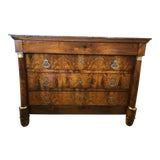 Image of 19th Century French Empire Crotch Mahogany Commode For Sale