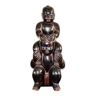 19th Century Asian Figural Hand Carved Totem Sumo Wrestlers Sculpture