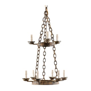 French Vintage Nine-Light Two-Tiered, Stacked Iron Ring-Shaped Chandelier For Sale