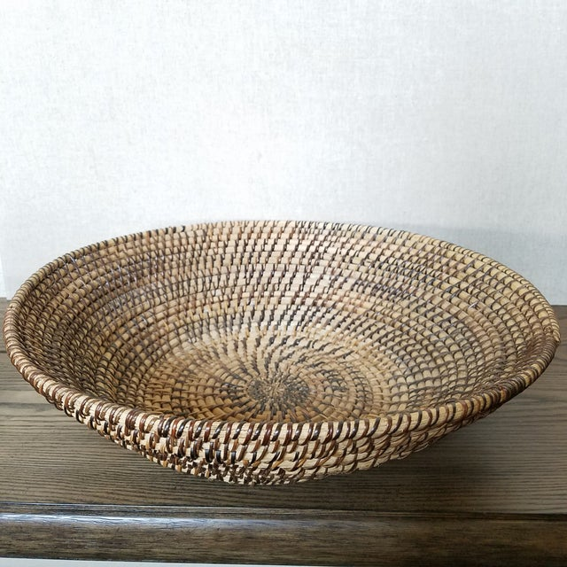 Rattan Coiled Basket Bowl Wall Art For Sale In Dallas - Image 6 of 6