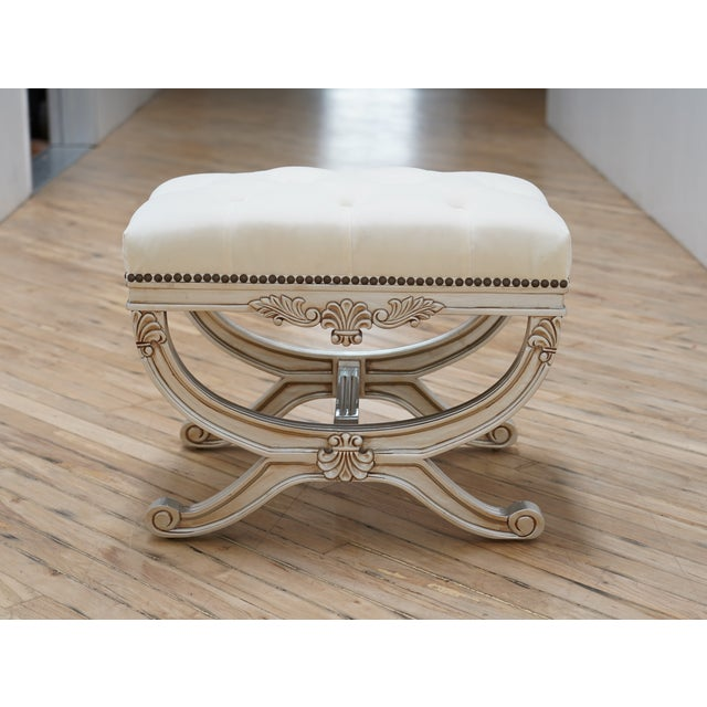 Wood Eliza Tufted Stool by Frontgate For Sale - Image 7 of 7
