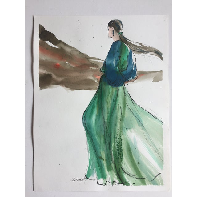 Vintage Original Fashion Watercolor Painting - Image 2 of 5