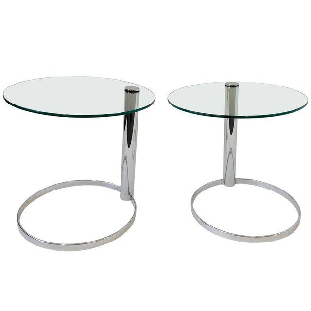 Pair of Chrome and Glass Side Tables by John Mascheroni for Swaim For Sale - Image 10 of 10