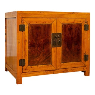 Large Chinese Antique Burl and Elm Wood Two-Toned Patina Cabinet with Doors For Sale